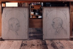 Pencil Drawings on Oak Wood Doors